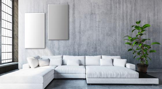innovative Heliolith infrarotheizung in wohnzimmer mit betonwand